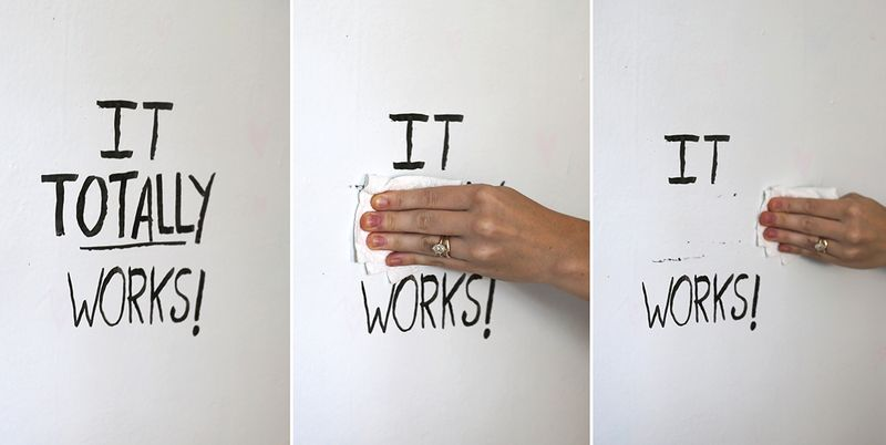 It TOTALLY works! whiteboard paint on abeautifulmess.com