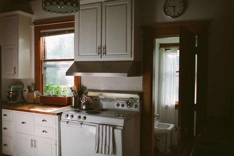 Beautiful kitchen with window herbs