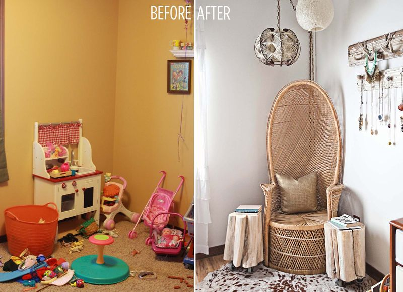 Emma's bedroom before and after