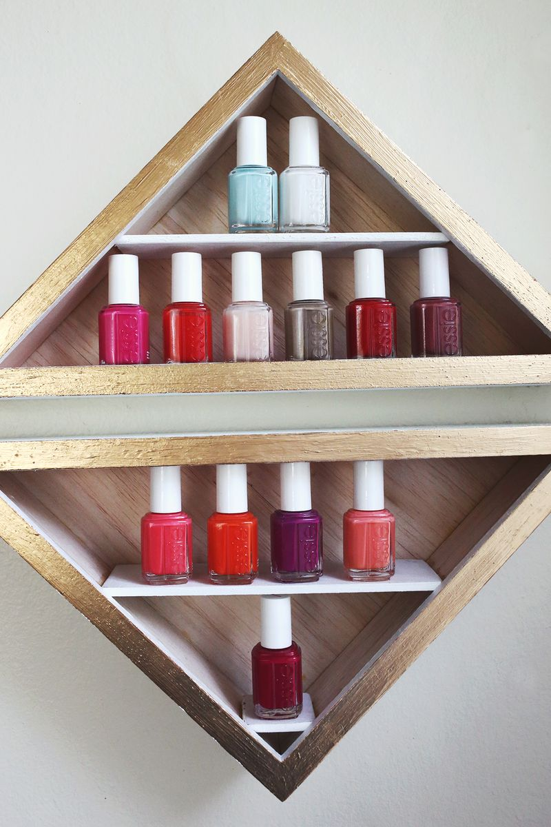 Nail polish shelves (made with shadow boxes!) via abeautifulmess.com