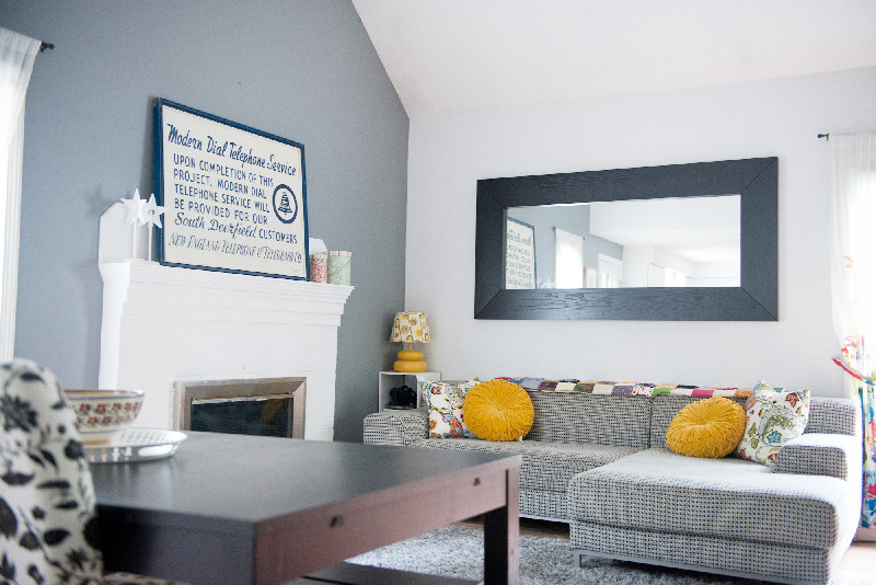 Grey and black living room-- so good