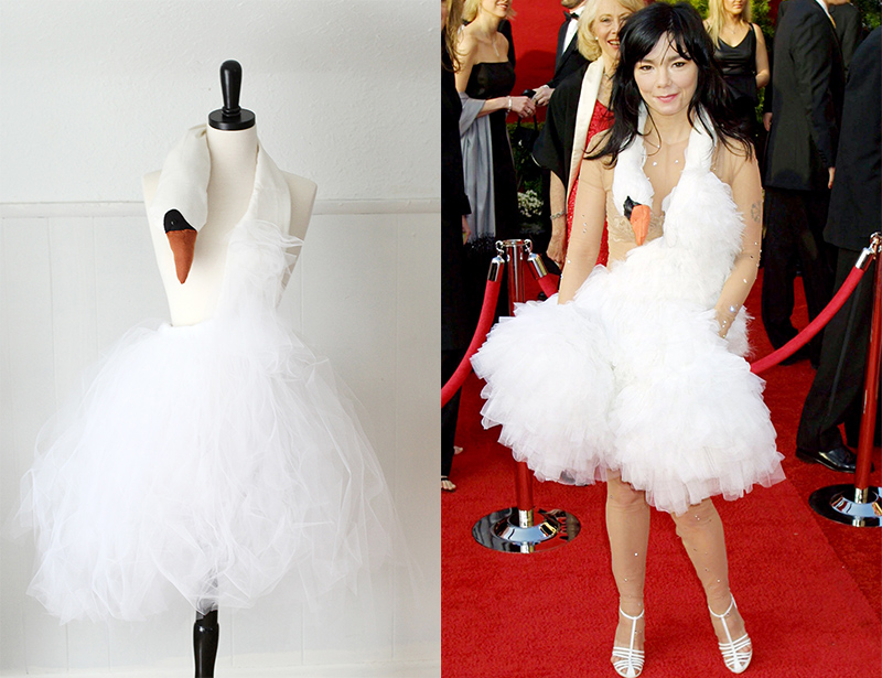bjork inspired swan dress tutorial