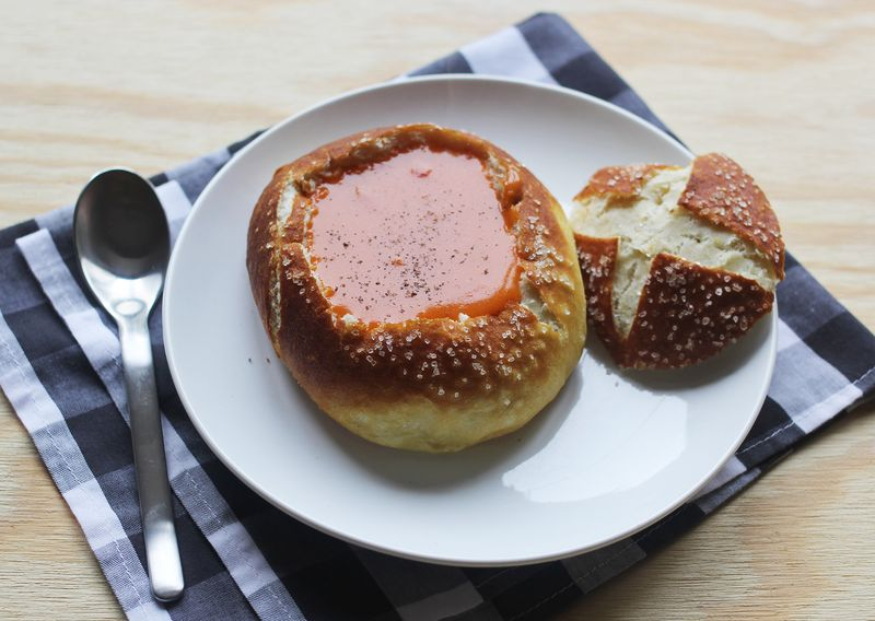 Elevate homemade soup with a pretzel bread bowl