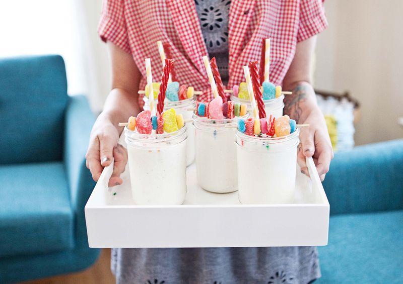 Candy garnish milkshakes