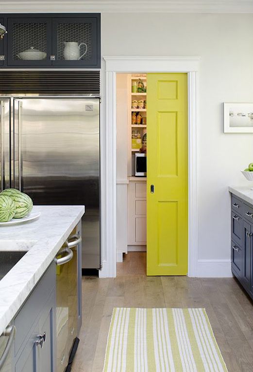 Yellow pocket door