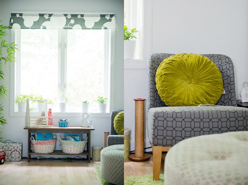 Love all the grey and green in this room!