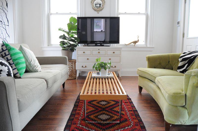 Love the green sofa!