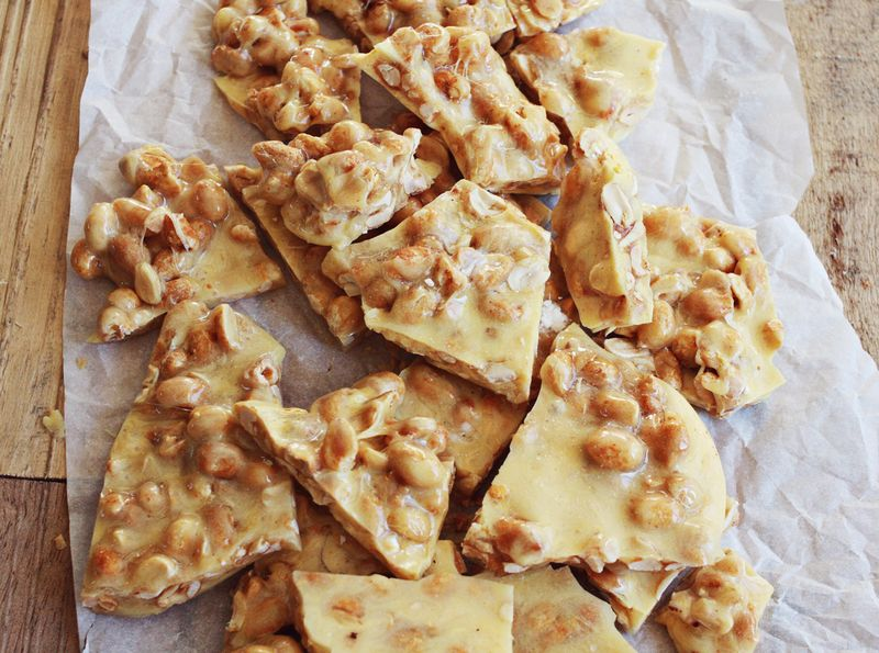 Sweet and Spicy Peanut Brittle abeautifulmess.com