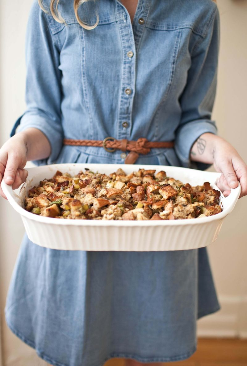 Bacon and Bourbon Stuffing abeautifulmess.com