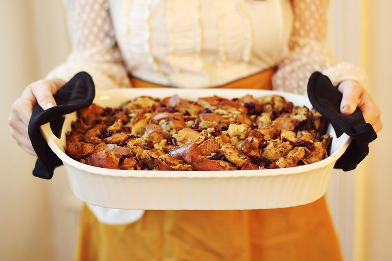 Cranberry Apple Stuffing abeautifulmess.com