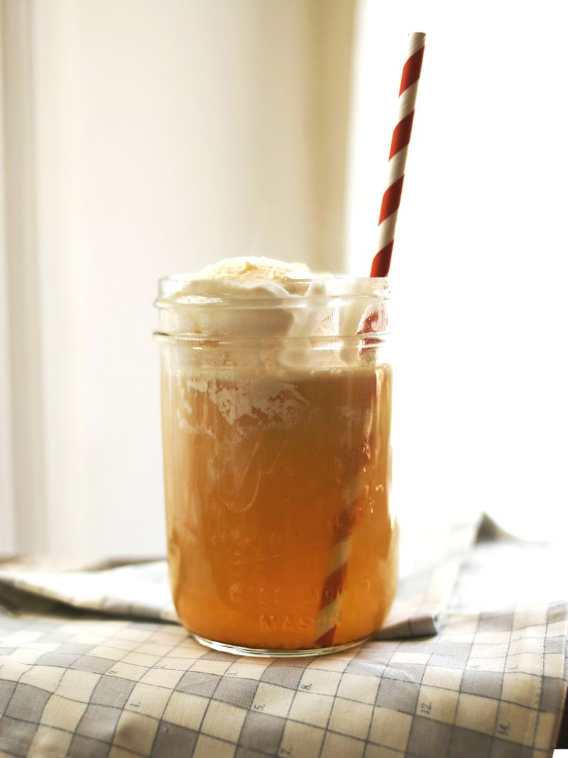 Spiked apple cider float abeautifulmess.com