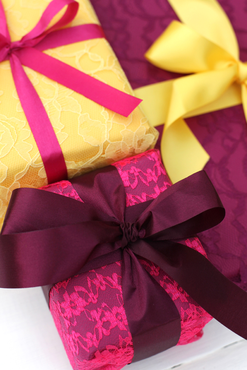 Make your gifts a little fancier by wrapping them in lace!
