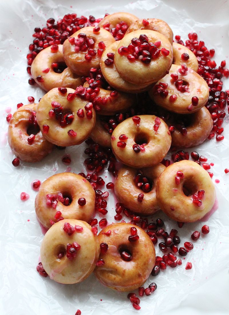 Pomegranate glazed donuts