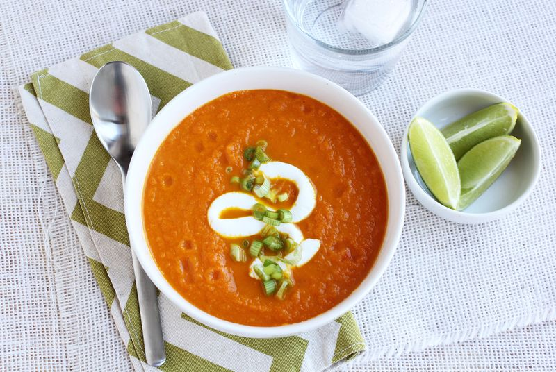 Carrot soup with ginger and lime