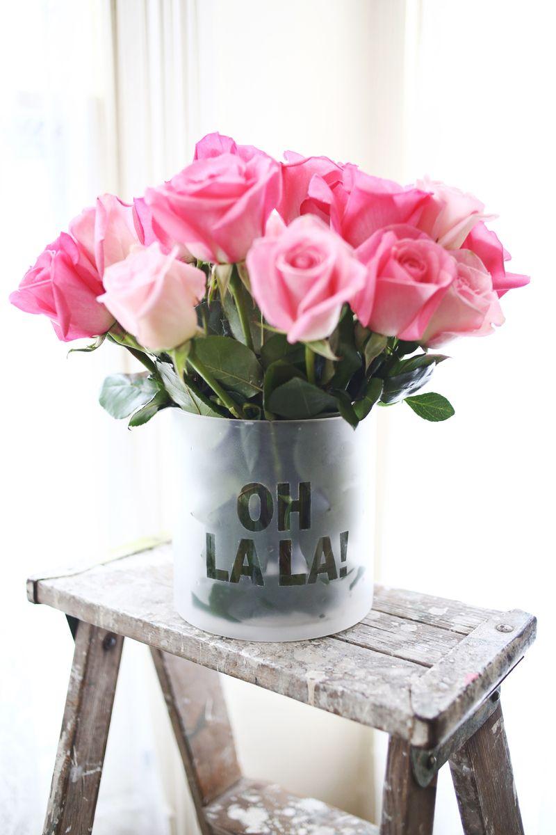 Frosted Phrase Vase DIY abeautifulmess.com