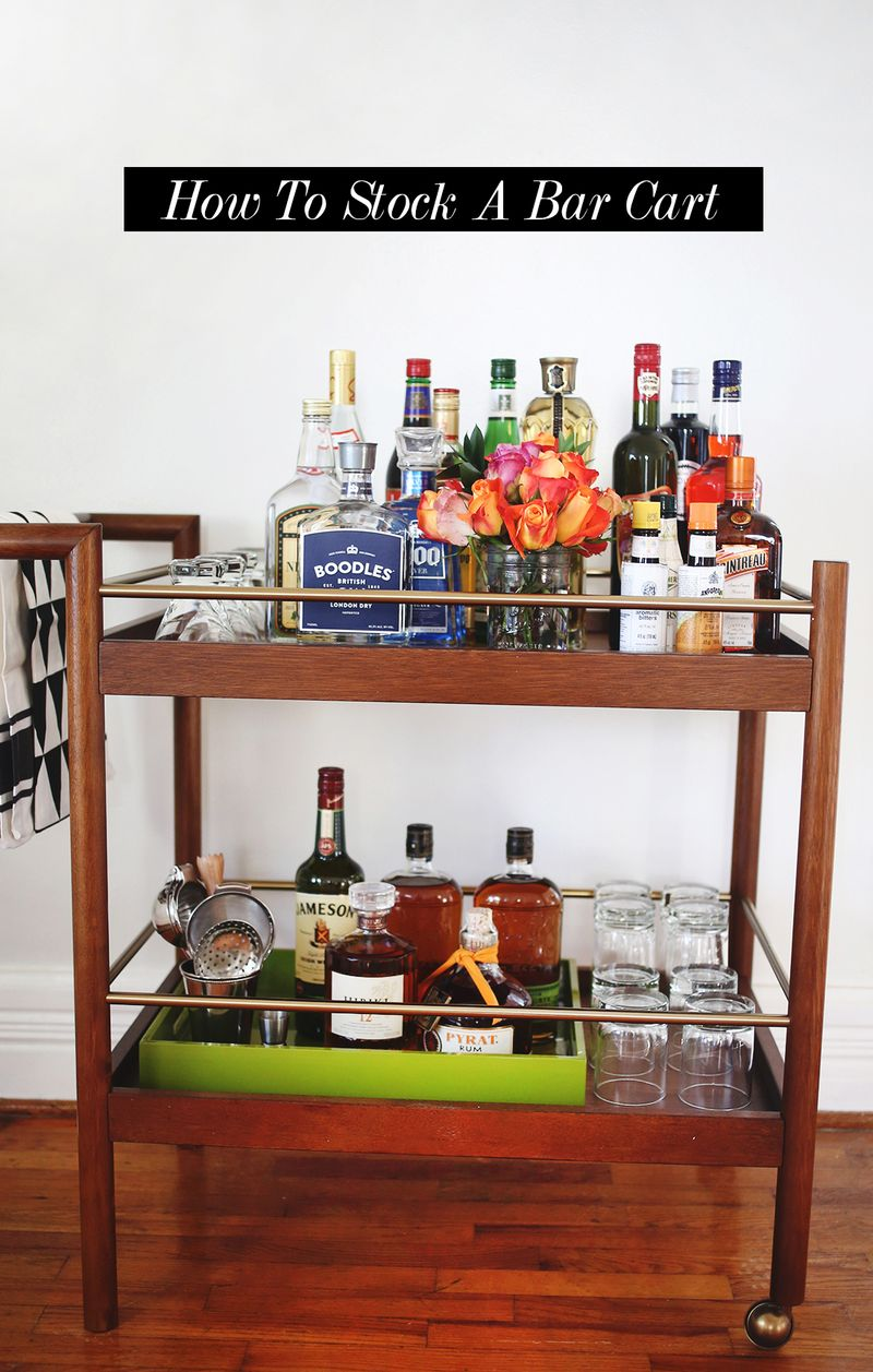 How To Stock A Bar Cart A Beautiful Mess