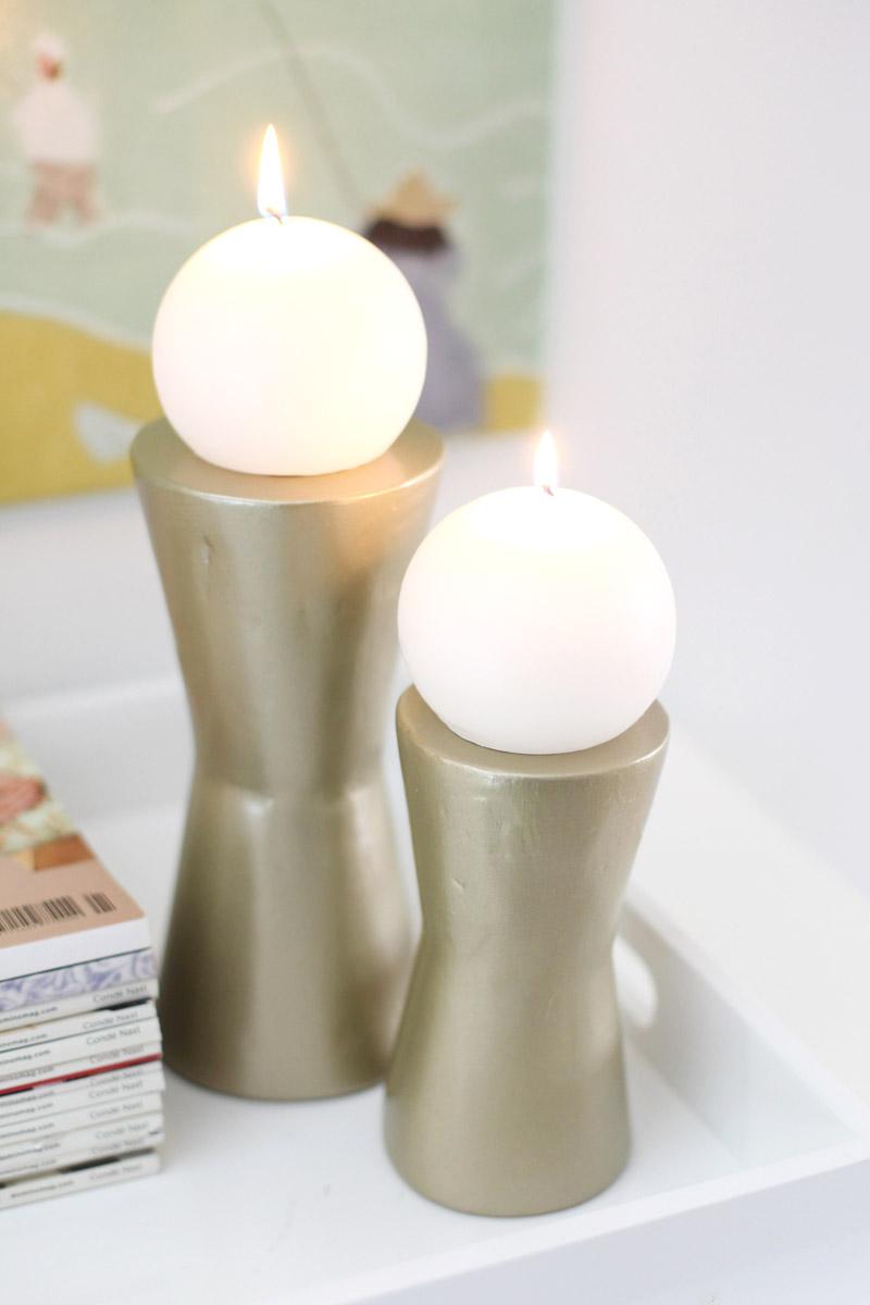 Diy Modern Metallic Candle Holders A Beautiful Mess