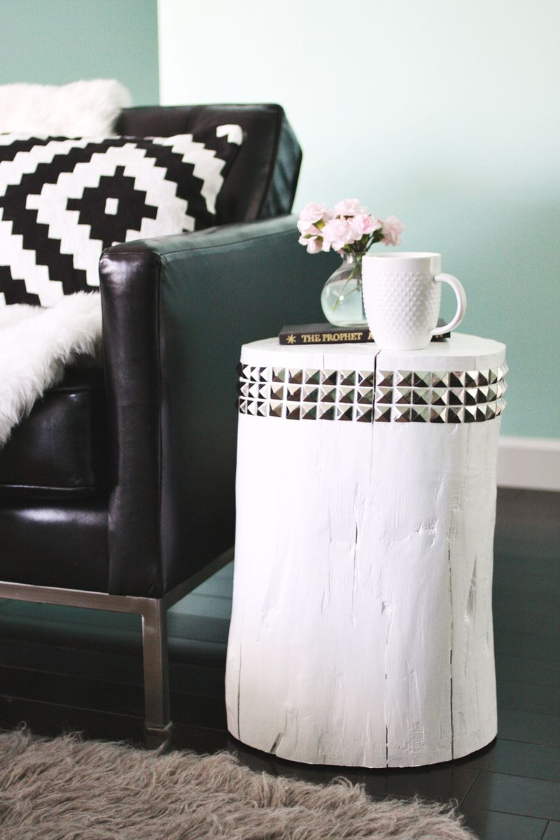 Picture of: Diy Studded Tree Stump Side Table A Beautiful Mess