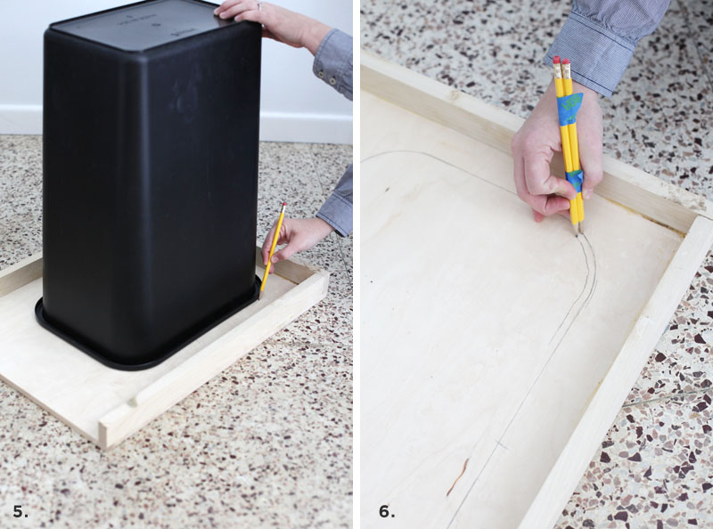 How to convert a cabinet into a pull-out trash bin- get that trash can out of sight!