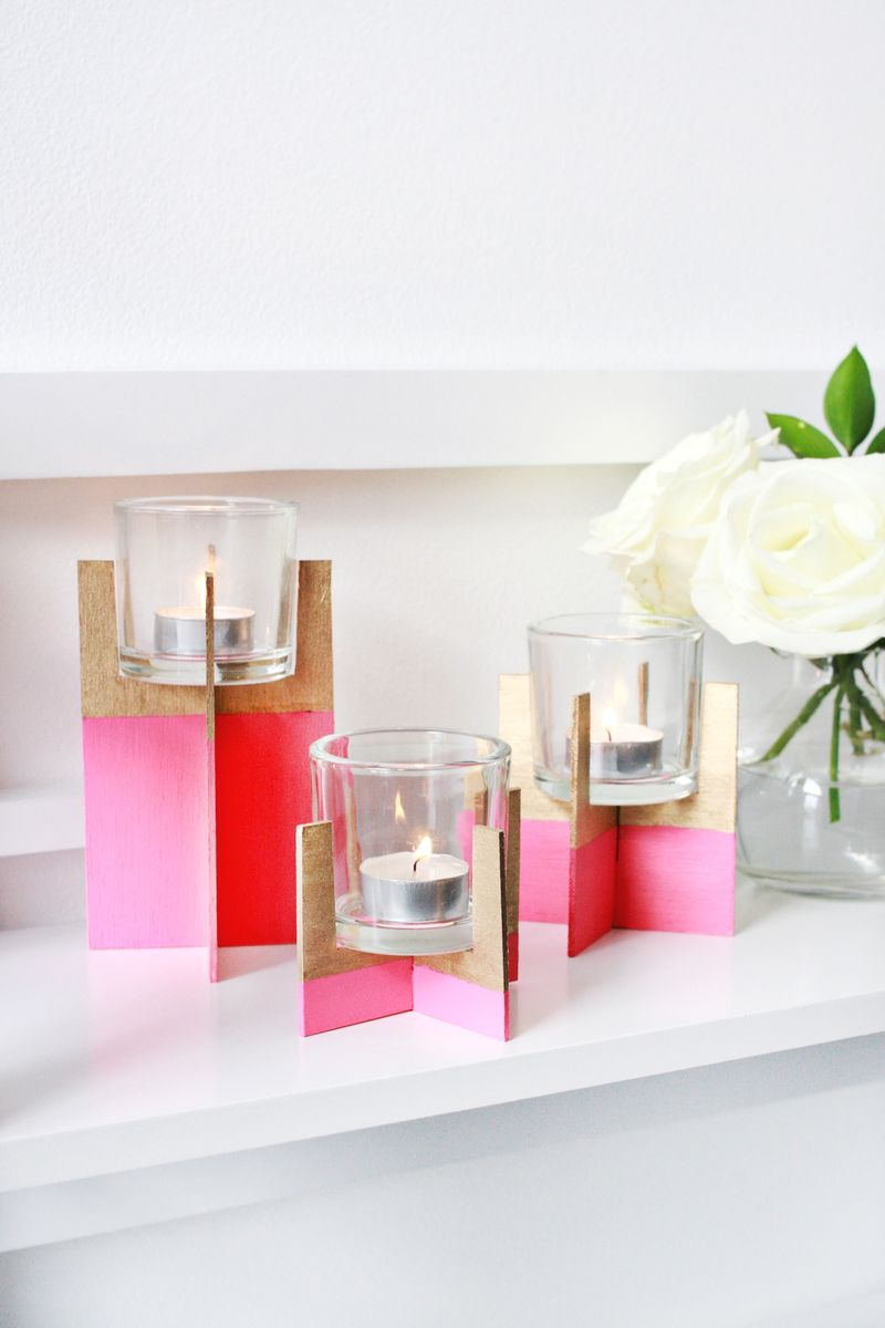 Paint dipped candle holder