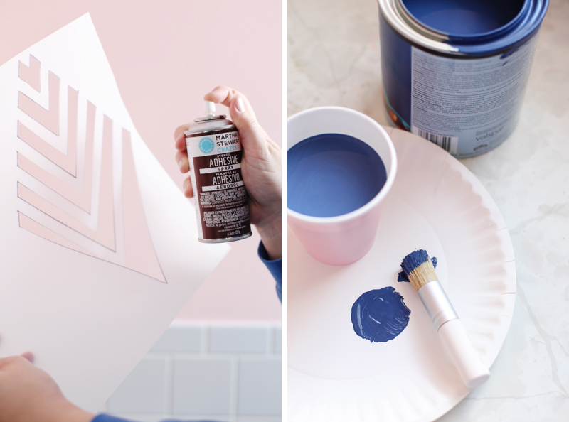 Get the look of wallpaper by making your own geometric stencil- imagine the possibilities! Click through for details.