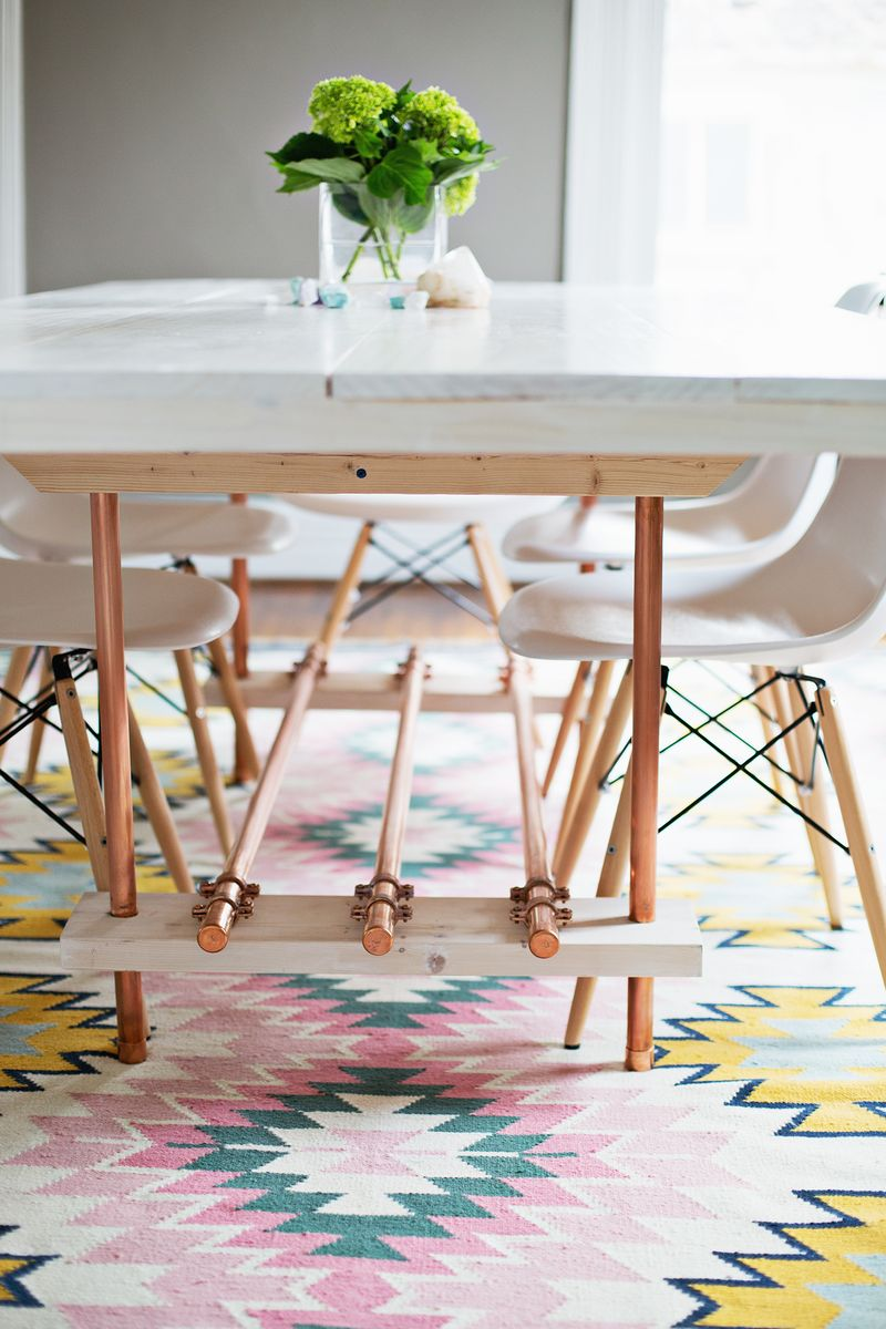 Diy Dining Room Table With Copper Legs