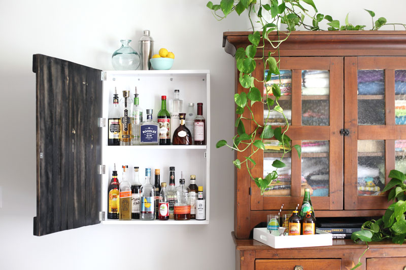 No Room For A Bar Cart In Your Home? Build This Wall Mounted Liquor