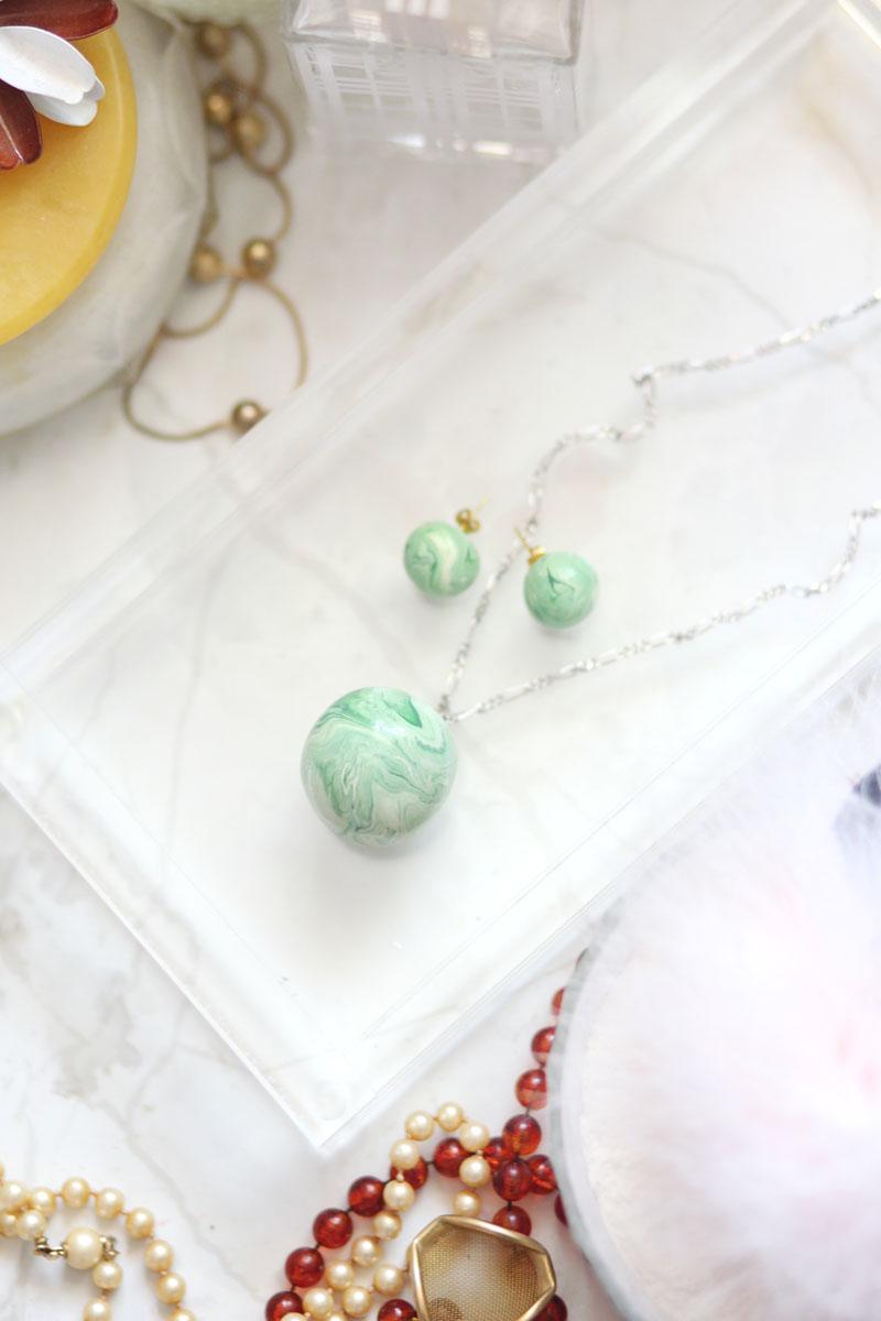 Green Clay Earrings Statement Earrings- The Jade Marbled