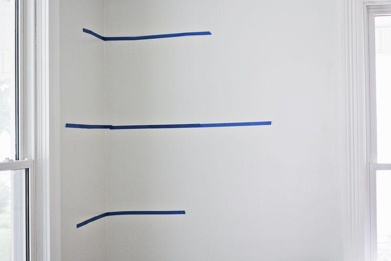DIY floating shelves (mark the walls)