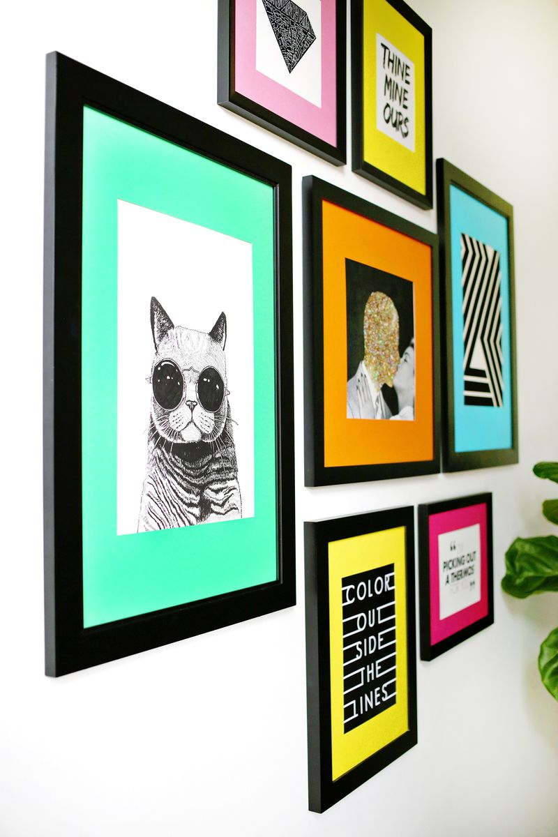 So fun! Colored Mat Gallery Wall