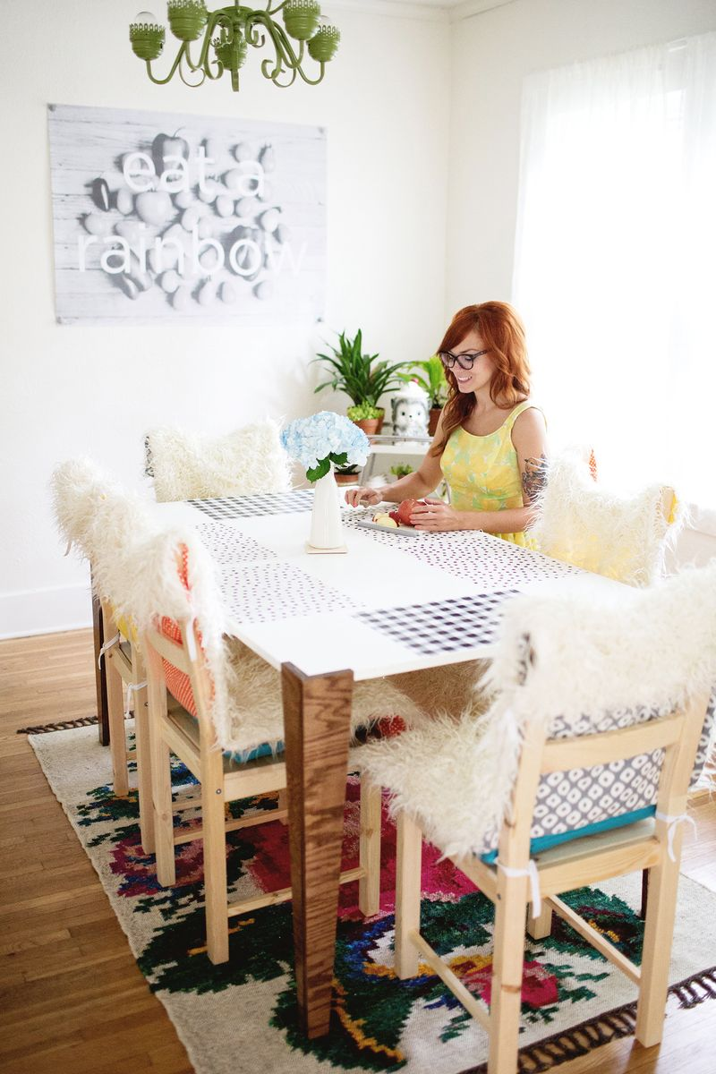 DIY Faux Fur Chair Covers and Cushions - A Beautiful Mess