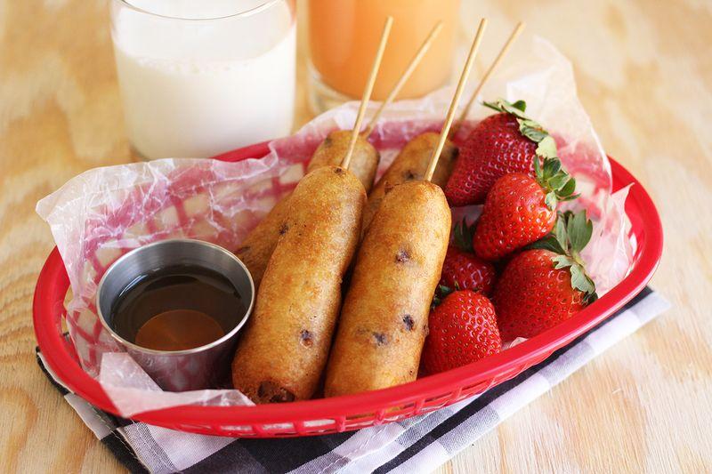 Veggie sausage and pancakes
