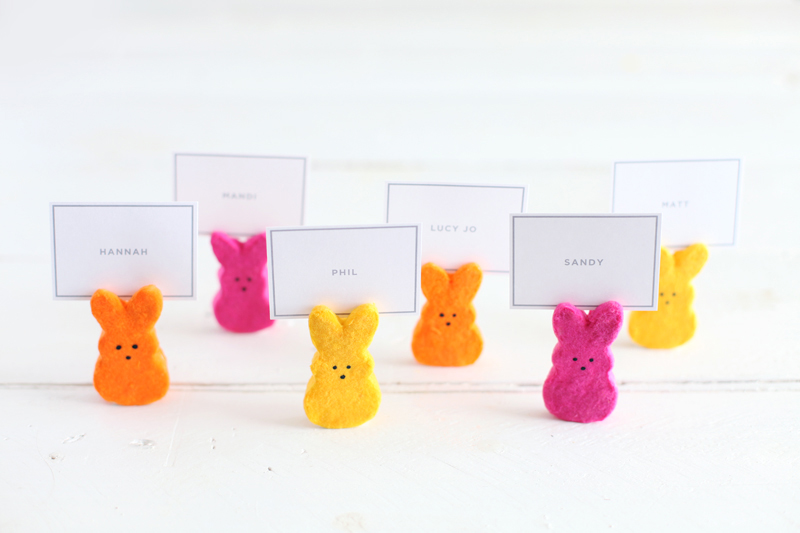 Nope– they're not marshmallow!These Peeps place card holders are made with clay, so no nibbling allowed. Click through for instructions!