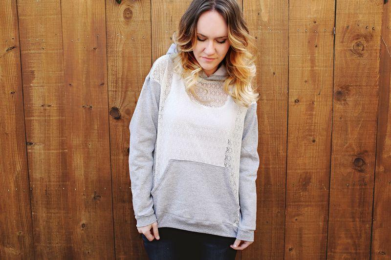 Lace hoodie DIY