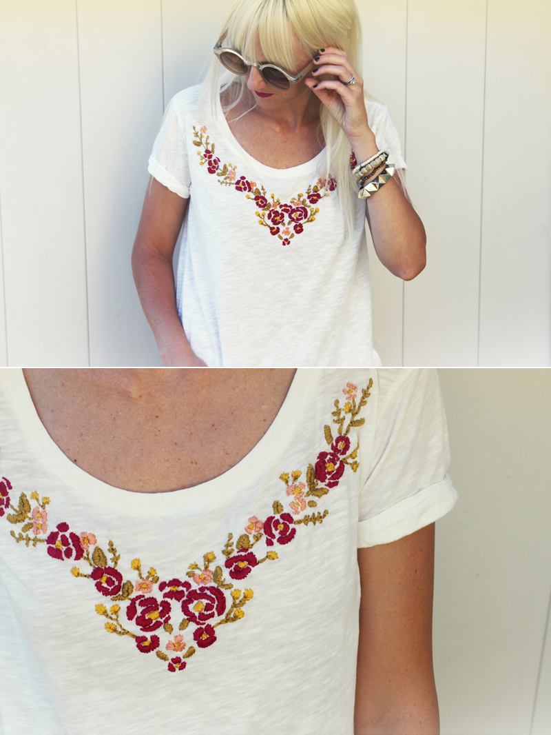 Floral embroidered shirt DIY