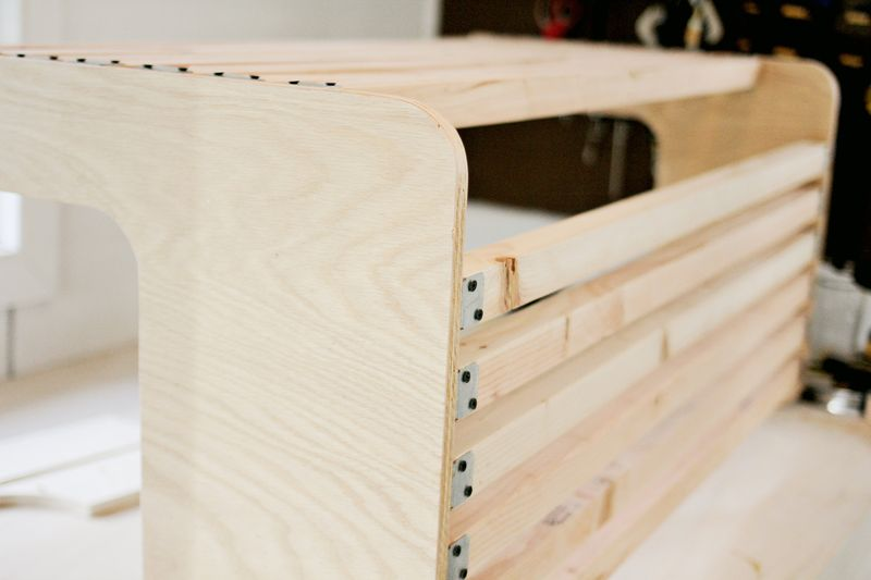 Build your own porch swing armrest assembly (click through for more before and after pics