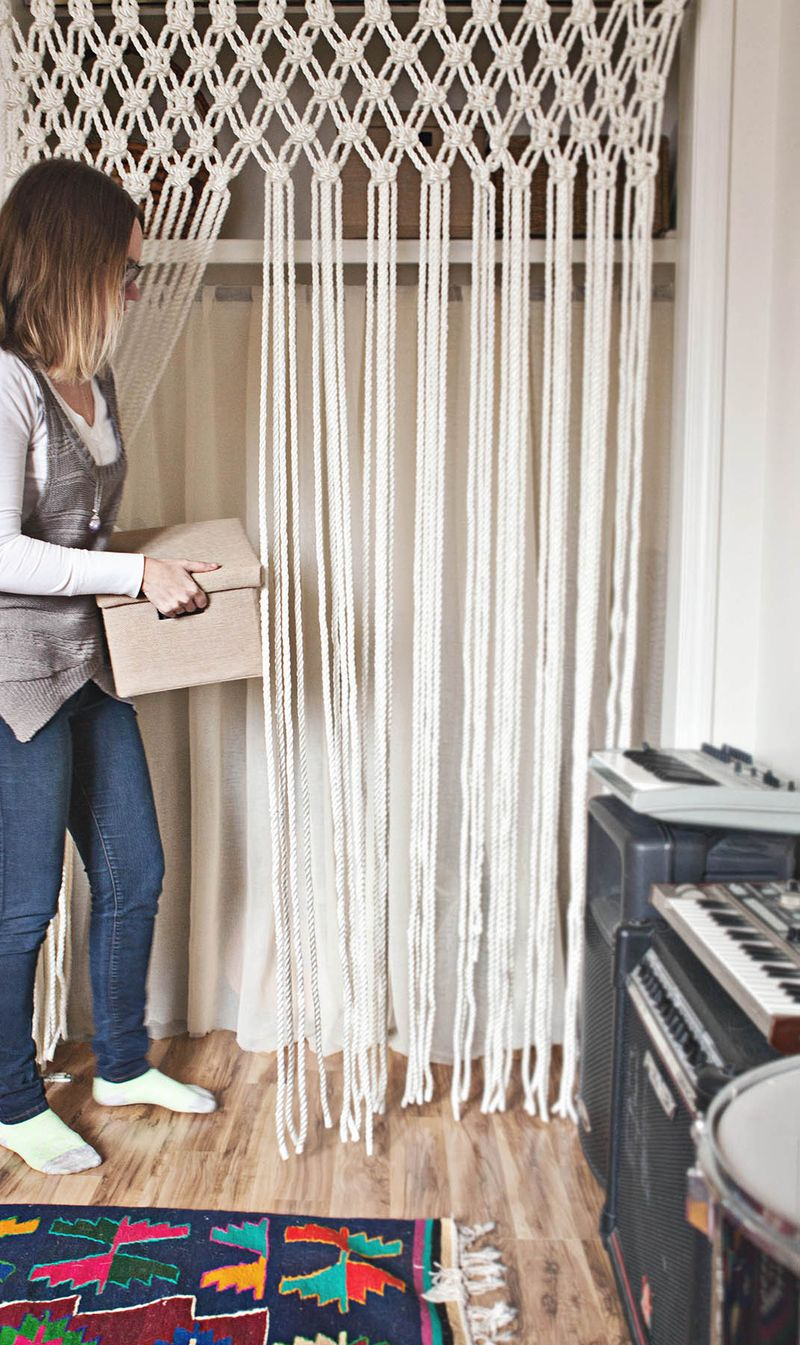 Rope macrame curtain