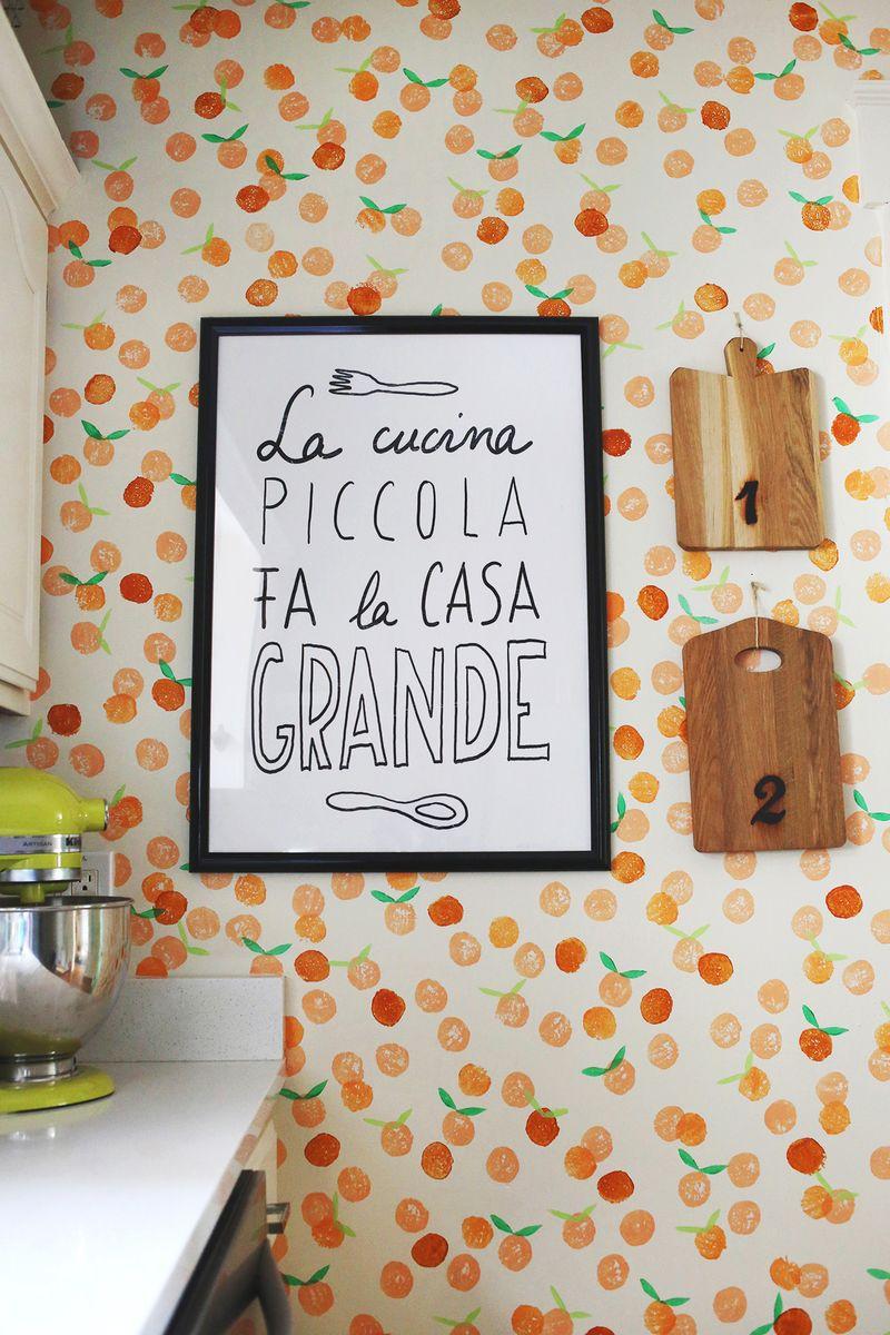 Handstamp clementine wall