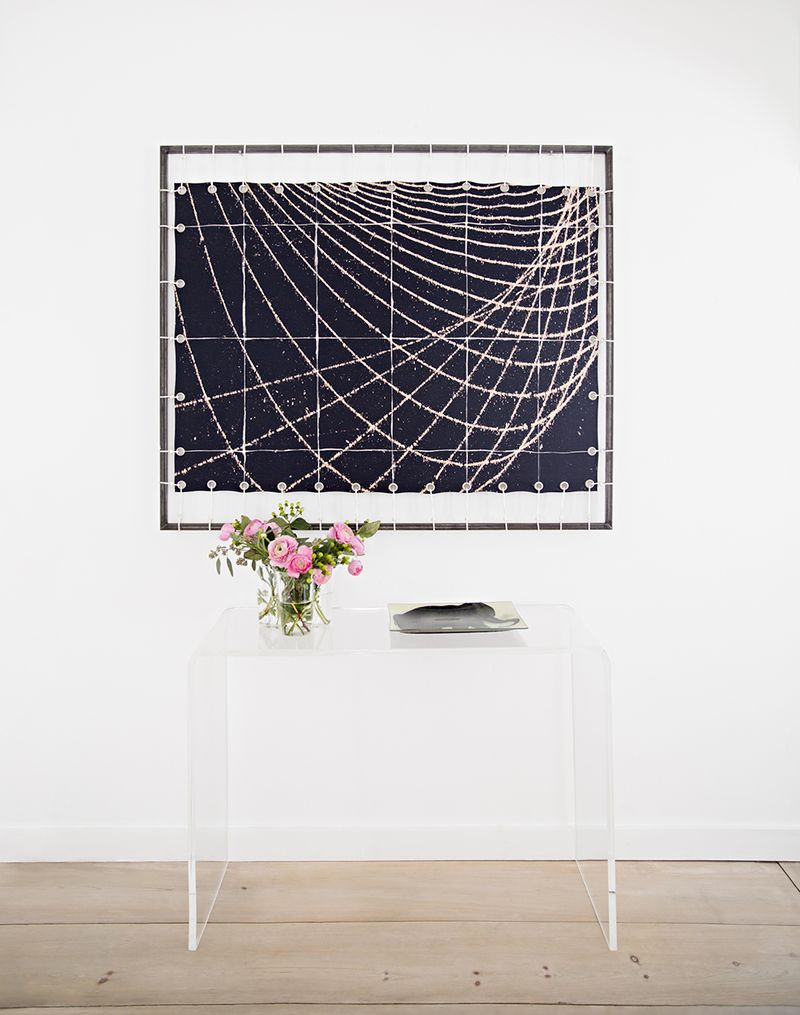 Large wall art and lucite table