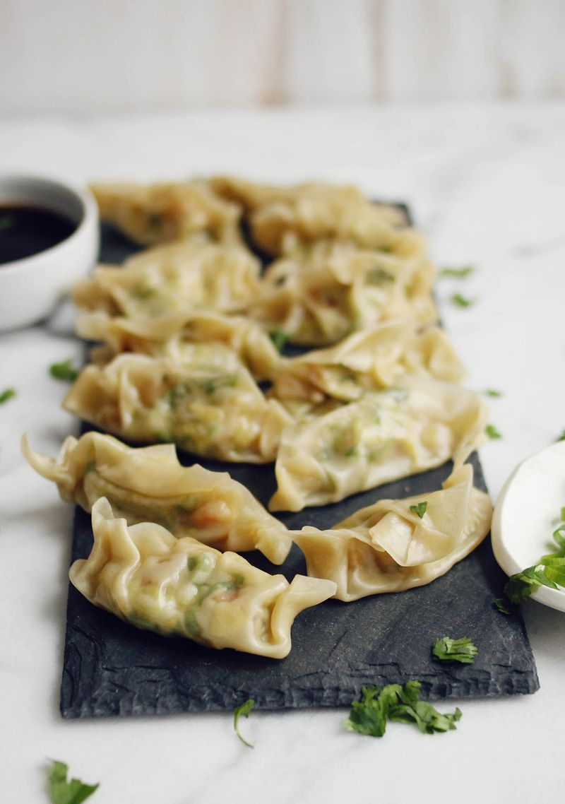 Shrimp and brussels dumplings