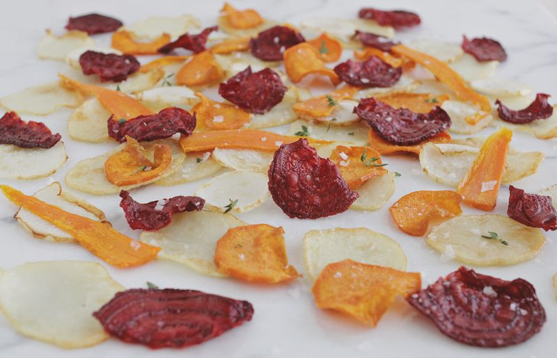 Homemade veggie chips (click through for recipe)