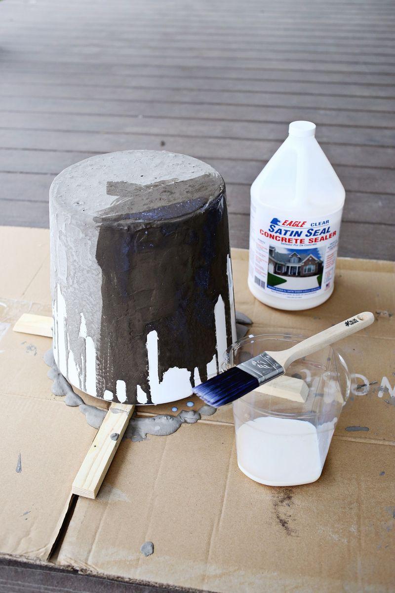 Dripped Concrete Planter DIY abeautifulmess.com