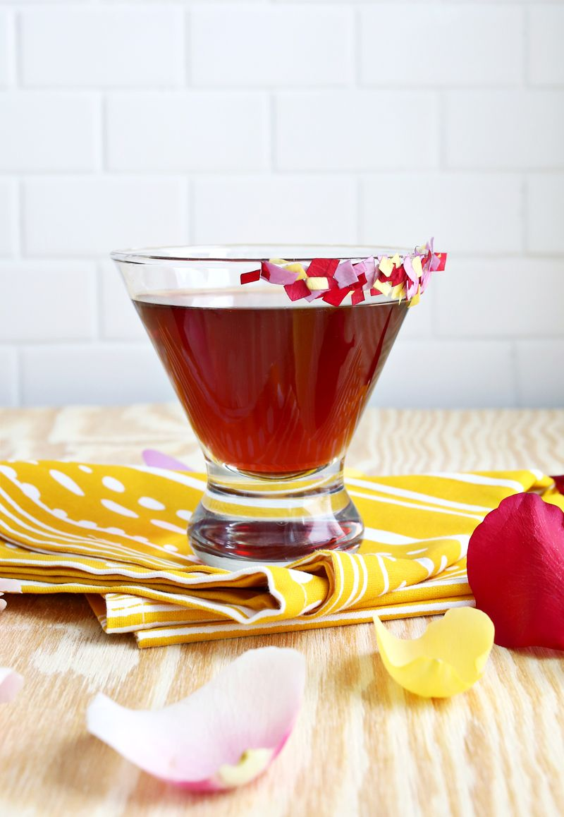 Rose pomegranate martini
