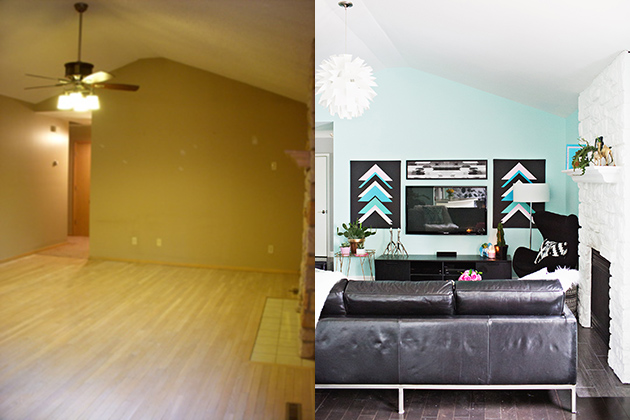 Laura's living room (before + after) Such a big difference!