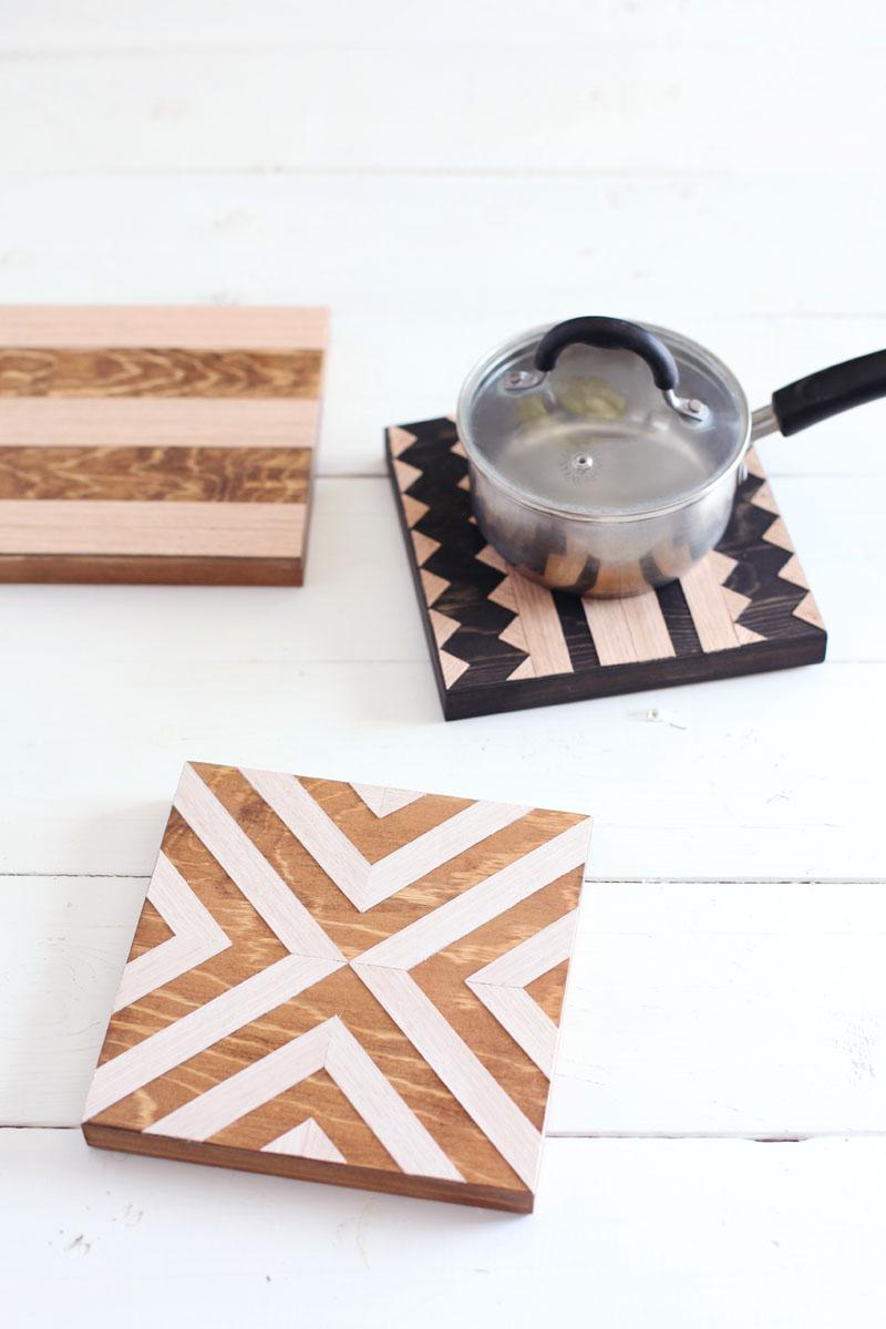 Diy Geometric Wood Trivets A Beautiful Mess