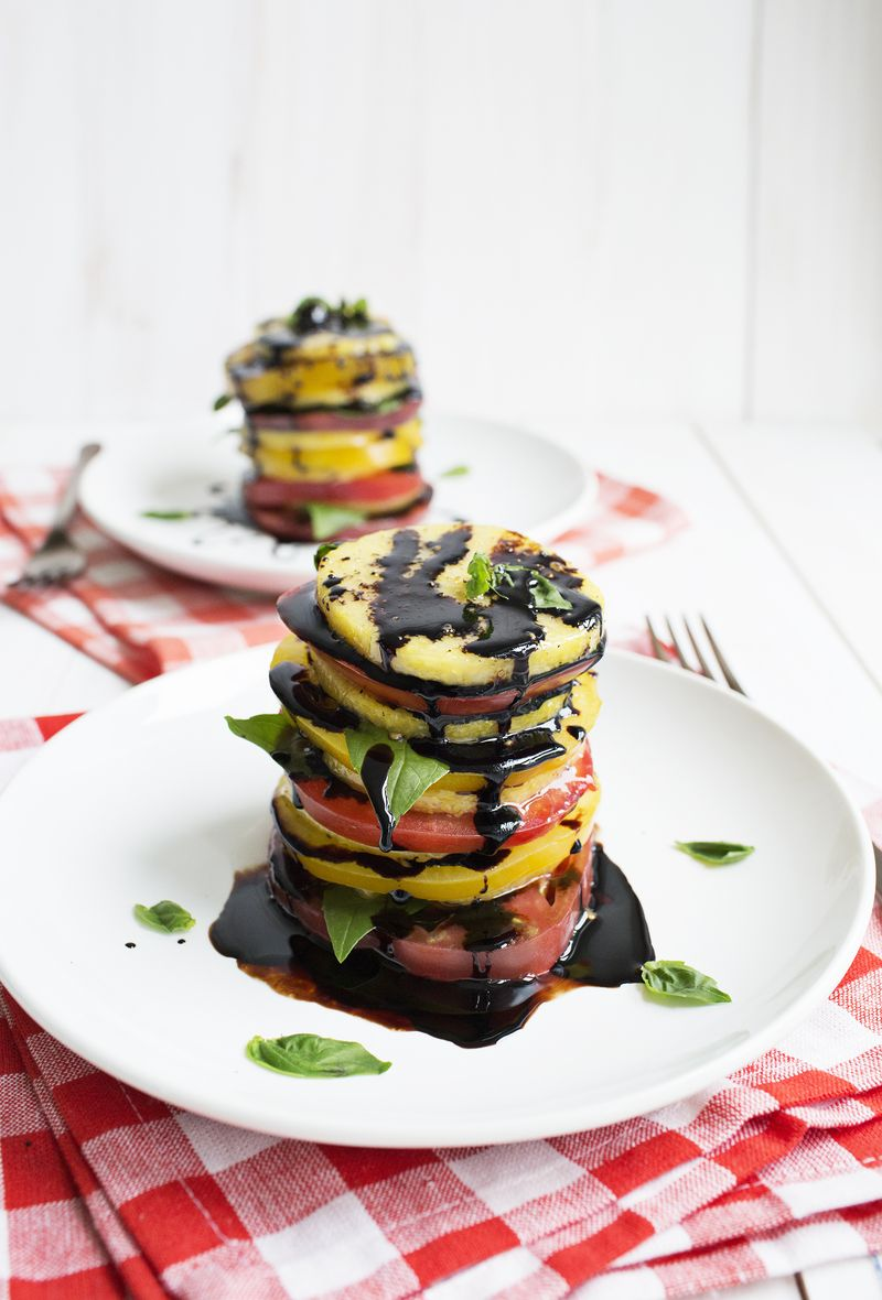 Balsamic tomatoes and polenta salad (click through for recipe)