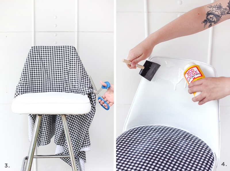 Give an old vinyl chair a facelift! Click through for details.
