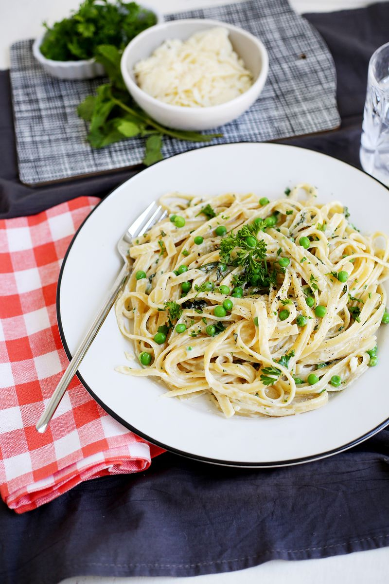 Creamy pea and fresh herb fettuccine (click through for recipe)