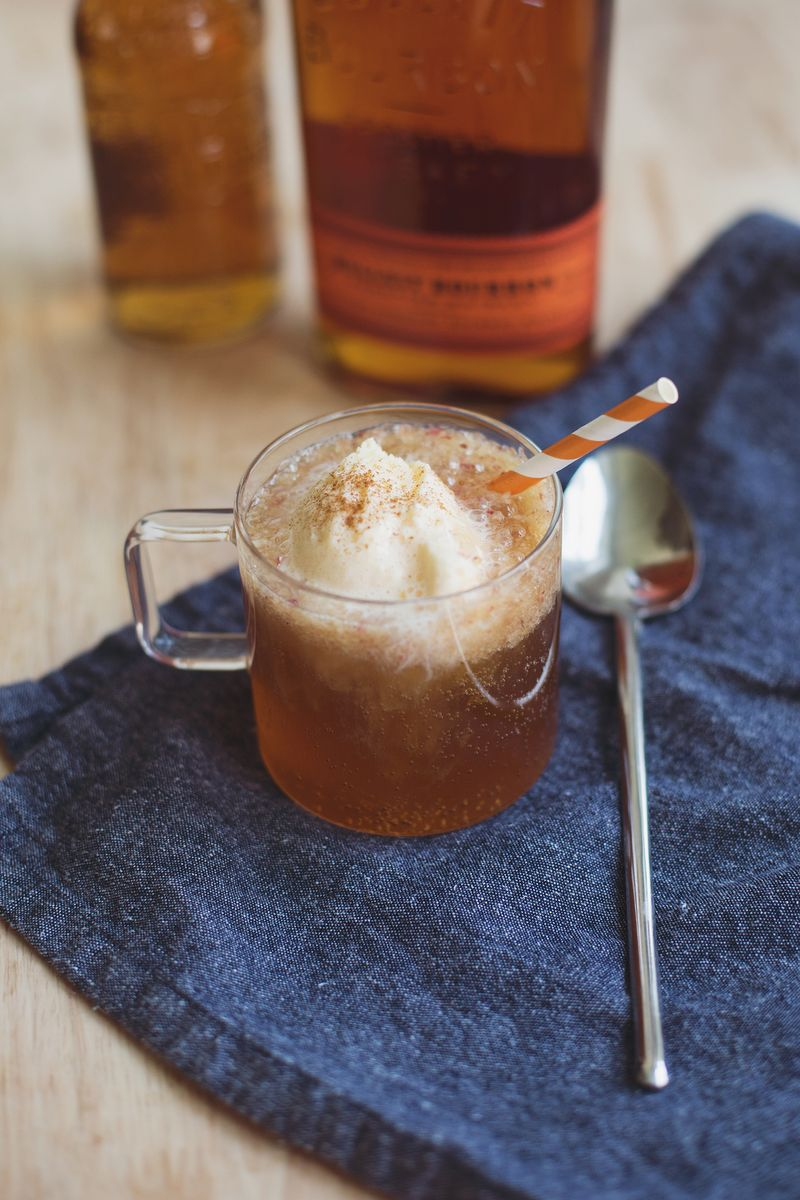 Peaches and Whiskey Ice Cream Float