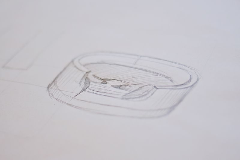 The Sadie bed - inital sketch (how to make a modern pet bed. click for more)